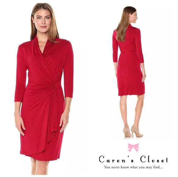 Karen Kane Dresses Nwt Red Cascade Wrap Dress Poshmark